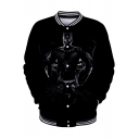 Cool Unique Black Pattern Rib Stand Collar Long Sleeve Button Down Baseball Jacket