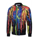 Creative Colorful Splash-Ink Painting Stand Collar Long Sleeve Zip Up Slim Fit Jacket