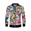 New Fashion 3D Cartoon Comic Character Printed Stand Collar Long Sleeve Zip Up Jacket