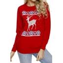 Popular Christmas Deer Snowflake Print Round Neck Long Sleeve Casual Sweatshirt