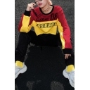 Girls Popular Street Letter CUTE PSYCHO Colorblocked Round Neck Long Sleeve Red and Yellow Crop Sweatshirt