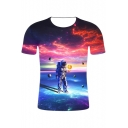 Cool Space Galaxy Astronaut Printed Round Neck Short Sleeve Regular Fit T-Shirt