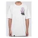 Mens Summer Funny Alien Letter GAME OVER Printed Short Sleeve Cotton White T-Shirt