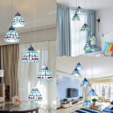 Craftsman/Bowl Study Room Pendant Light Stained Glass 5 Lights Nautical Style Hanging Light in Blue