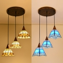 Blue Craftsman/Yellow Bell Pendant Light Tiffany Stylish 3 Lights Stained Glass Hanging Lamp for Corridor