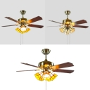 Study Room Lattice Dome Ceiling Fan Metal 42