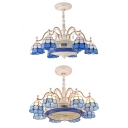 Elegant Grid Dome Ceiling Fan with Invisible Blade 6/8 Lights Metal Semi Flush Mount Light for Dining Table