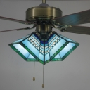 3 Heads Craftsman LED Semi Flushmount Light Tiffany Glass 42 Inch LED Ceiling Fan with Pull Chain for Dining Room