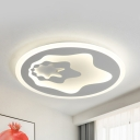 Simple Style White LED Flush Mount Light Star Metal Ceiling Fixture in Warm/White for Bedroom