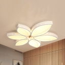 Etched Lotus LED Ceiling Mount Light Modern Metal Flush Light in Warm/White for Adult Bedroom