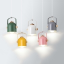 Macaron Loft Bucket Hanging Lamp 1 Light Metal Candy Colored Pendant Light for Living Room