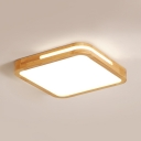 Nordic Square LED Flush Ceiling Light Acrylic Wood Warm/White Lighting Ceiling Lamp in Beige for Hallway