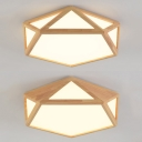 Acrylic Pentagon Flush Mount Light Study Room Contemporary Industrial Ceiling Lamp in Warm/White