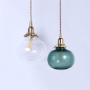 Blue/Clear Glass Orb Pendant Light Living Room Kitchen 1 Light Simple Style Hanging Light