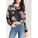 Womens Trendy Floral Printed Long Sleeve Black Cropped Hoodie