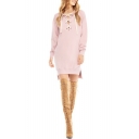 Stylish Eyelet Lace-Up Collar Long Sleeve Split Side Pink Longline Sweatshirt