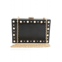Trendy Plain Pearl Rivet Embellishment Evening Clutch Bag with Chain Strap 18*6*11.5 CM