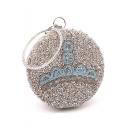 Luxury Printed Bead Rhinestone Embellishment Silver Round Clutch Handbag 18*18 CM