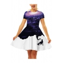 Summer Fashion 3D Galaxy Printed Round Neck Short Sleeve Mini A-Line Dress