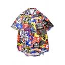 Guys Cool Street Fashion Cartoon Letter Graffiti Short Sleeve Holiday Hawaiian Shirt