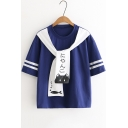 Summer Sweet Tied Round Neck Striped Sleeve Casual Loose Girls T-Shirt