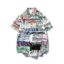 Guys Cool Street Fashion Letter Graffiti Print Cotton Loose Hawaiian Shirt