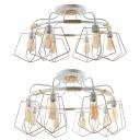 Metal Ring Semi Flush Mount Light Living Room 6/8 Lights Retro Stylish Ceiling Fixture in White