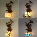 Tiffany Rustic Stylish Wall Lamp with Deer Decoration Resin 1 Head Wall Light for Living Room
