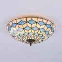 Glass Bowl Shade Ceiling Mount Light Nautical Style LED Flush Light in Blue for Kid Bedroom