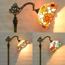 Rotatable Baroque/Dragonfly/Sunflower Floor Lamp 1 Light Tiffany Stained Glass Standing Light for Villa