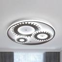 Living Room Gear Shaped Ceiling Mount Light Acrylic 2/3/4/6 Heads White LED Flush Light