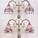 Shell Camellia/Desert Rose Floor Lamp 2 Heads Tiffany Vintage Floor Light for Dining Room