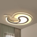Ceiling Mount Light Dolphin Acrylic Flush Light in Warm/White for Study Room