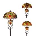 3 Lights Daisy/Grape/Rose Floor Lamp Tiffany Elegant Style Stained Glass Floor Light for Bedroom