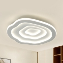 Cute Floral Theme Ceiling Light Acrylic Third Gear/Warm/White Flush Mount Light for Living Room