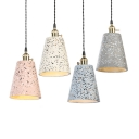 Contemporary Trapezoid Shade Pendant Light Cement 1 Head Black/Blue/Pink/White Hanging Light for Restaurant