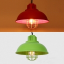 Metal Barn Shade Ceiling Pendant with Bulb Cage Bookshop 1 Light Vintage Style Hanging Light in Green/Red