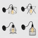 Black Finish Cage Wall Lamp 1 Light Antique Style Black Wall Light for Hallway Stair