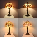 Flower/Hollow/Magnolia/Victorian Desk Light Stained Glass 2 Lights Tiffany Rustic Table Light for Cafe