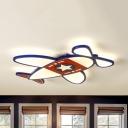 Kids Airplane LED Flush Mount Light Acrylic Ceiling Light with Warm/White Lighting for Boys Bedroom
