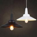Vintage Black/White Hanging Lamp 1 Head Antique Stylish Metal Ceiling Pendant for Restaurant