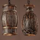 Resin Barrel/Vase Pendant Light 1 Light Antique Stylish Hanging Light in Brown for Cafe Bar