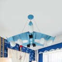 Teen Bedroom Airplane Pendant Lamp Metal 4 Heads Light Blue Eye-Caring LED Ceiling Pendant