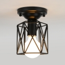 Hallway Foyer Frame Wire Flush Ceiling Light Iron One Light Industrial Black Ceiling Lamp