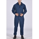 Mens Trendy Denim Blue Simple Solid Color Hooded Long Sleeve Dust-Proof Workwear Mechanic Coveralls