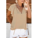 Womens New Stylish Tied V-Neck Short Sleeve Simple Plain Loose Casual Chiffon Blouse Top