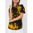 Summer Unique Tie Dyed Printed Basic Round Neck Short Sleeve Loose Fitted T-Shirt