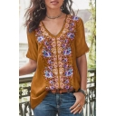 Fancy Ethnic Style Floral Print V-Neck Short Sleeve Loose Casual T-Shirt