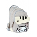 Cute Cartoon Cat Letter GIVE ME Printed Canvas School Bag Backpack 23*11*30 CM