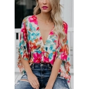 Summer Chic Rose Red Floral Printed Button Down V-Neck Casual Loose Blouse Top